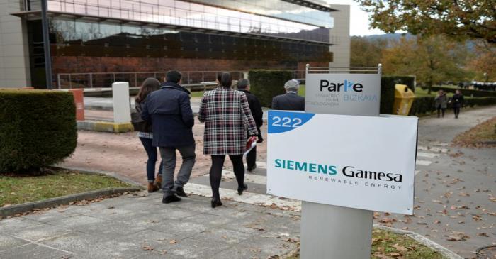 The Siemens Gamesa logo is displayed outside the company headquarters in Zumudio near Bilbao