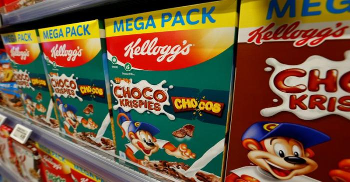 Kellogg's products of U.S. Kellog Company are offered at a supermarket in Zumikon