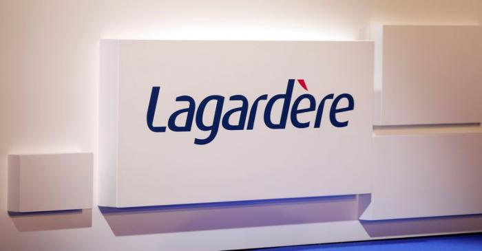 The logo of French media group Lagardere is seen at the group's shareholders meeting in Paris