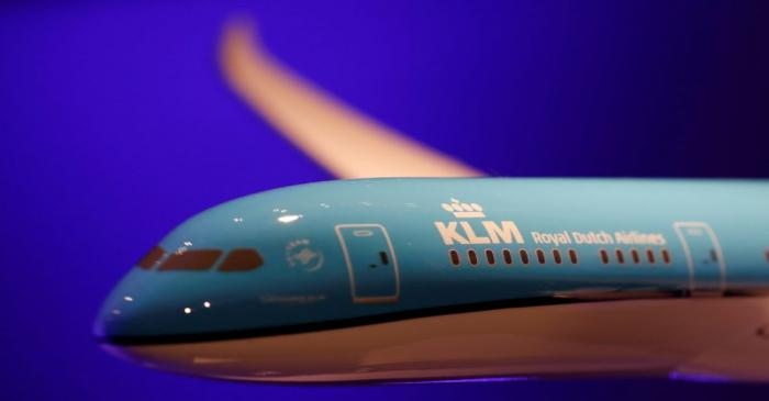 FILE PHOTO: A KLM Boeing 787-9 scale model is seen in Paris