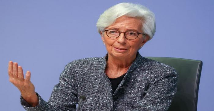 European Central Bank (ECB) President Christine Lagarde gestures as she addresses a news