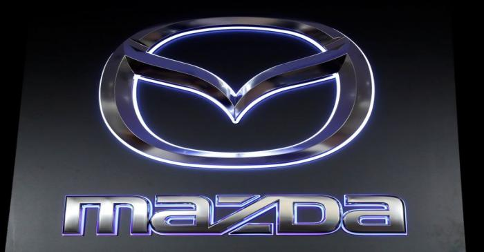 The logo of Mazda Motor Corp. is displayed at the company's news conference venue in Tokyo