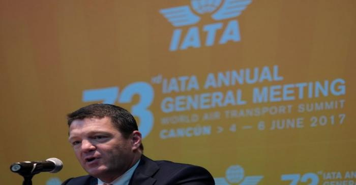 FILE PHOTO: Elbers, President and CEO of KLM, addresses the audience during an IATA meeting in