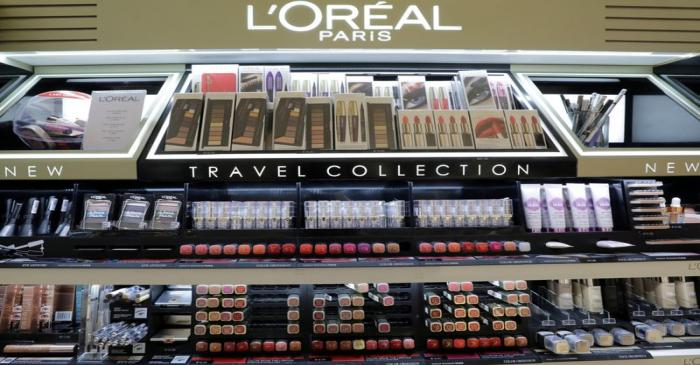 FILE PHOTO: A cosmetic display of French cosmetics group L'Oreal is seen at a duty free shop at
