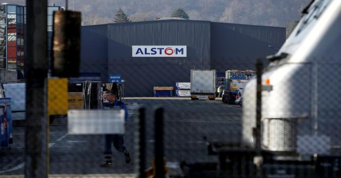FILE PHOTO: The logo of Alstom is seen on the high-speed train TGV factory of the company in