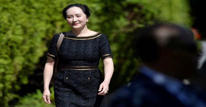 Huawei Technologies Chief Financial Officer Meng Wanzhou leaves her home to attend a court