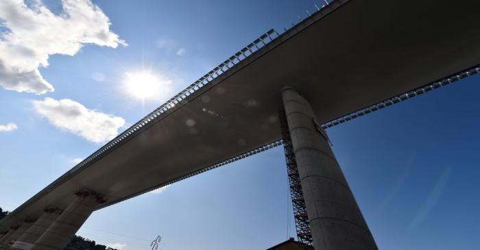 FILE PHOTO: Static testing operations on the new Genoa bridge