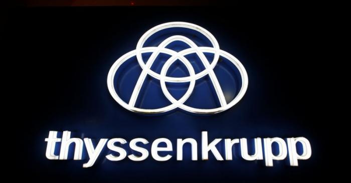 Thyssenkrupp's logo is seen outside elevator test tower in Rottweil