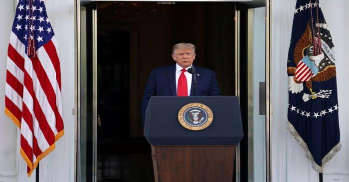 President Donald Trump delivers remarks outside White House