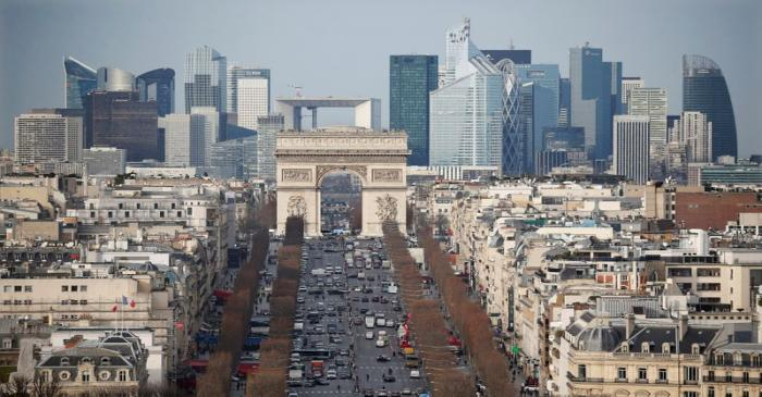 FILE PHOTO: General view of the skyline of La Defense business district with its Arche behind