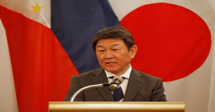 FILE PHOTO: Japanese Foreign Minister Toshimitsu Motegi delivers his speech during a press