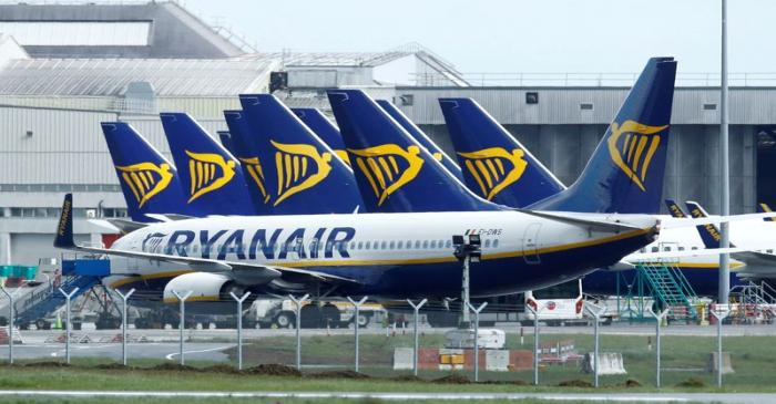 FILE PHOTO: Planes seen at Dublin airport following coronavirus outbreak