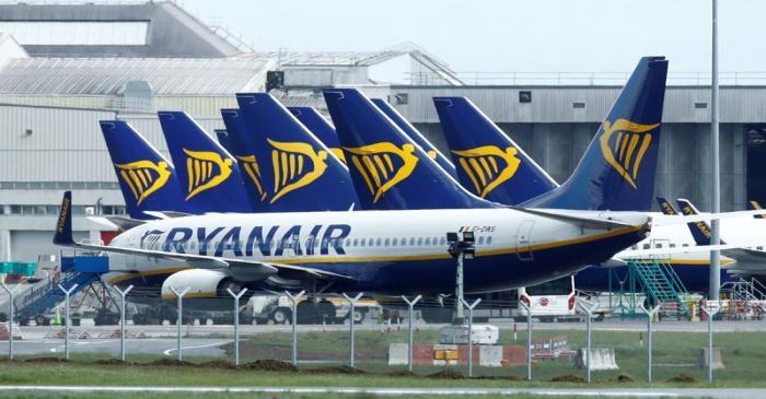 FILE PHOTO: Planes seen at Dublin airport following coronavirus outbreak