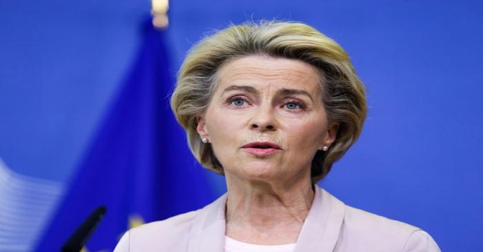 European Commission President Ursula von der Leyen makes an announcement on the composition of