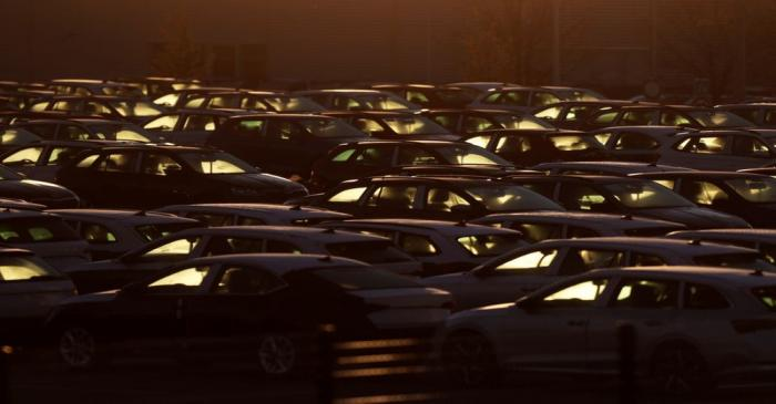FILE PHOTO: Cars are parked in the courtyard of Skoda Auto's factory as the company restarts