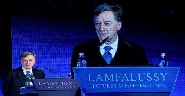 Mersch, Member of the Executive Board of the European Central Bank delivers a speech during