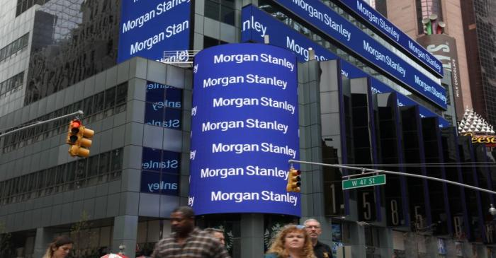 FILE PHOTO: The corporate logo of financial firm Morgan Stanley is pictured on the company's