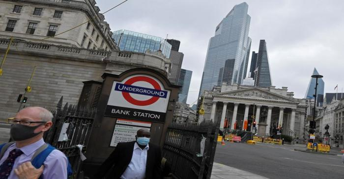 FILE PHOTO: Workers are seen in the City of London, Britain