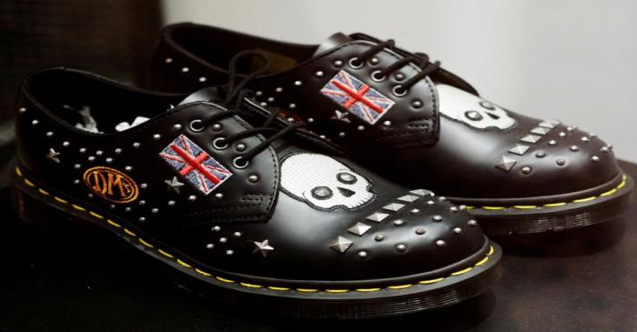 FILE PHOTO: A pair of Dr. Martens shoes adorned with the Union Jack is displayed at a shop in