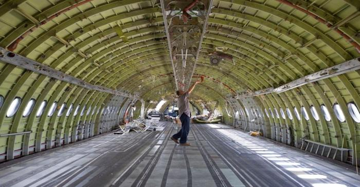 An empty A310 airplane at recycling company Aerocycle in Mirabel