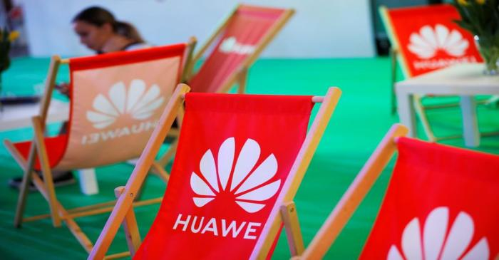 FILE PHOTO: The Huawei logo is pictured on the company's stand during the 'Electronics Show -
