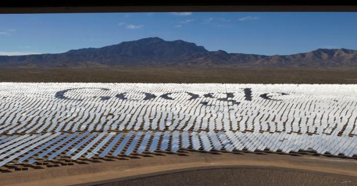FILE PHOTO: The Google logo is spelled out in heliostats during a tour of the Ivanpah Solar