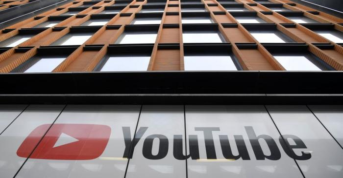 FILE PHOTO: YouTube signage is seen at their offices in London