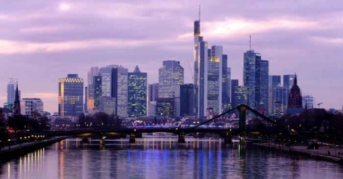 FILE PHOTO: The skyline with its banking district is photographed in Frankfurt