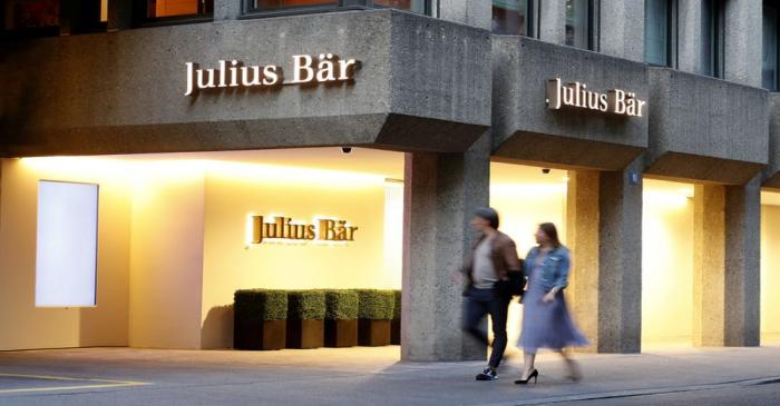 Logo is seen at the headquarters of Swiss private bank Julius Baer in Zurich