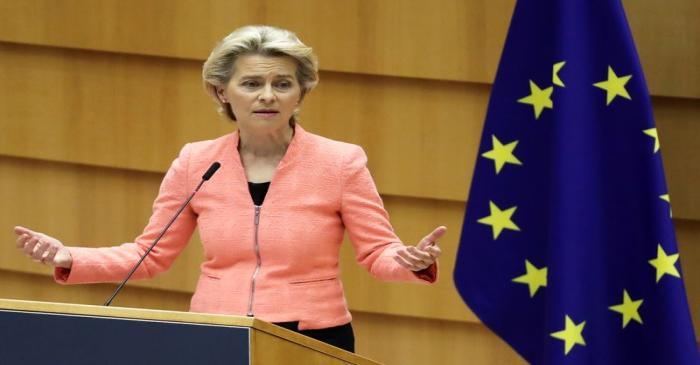 European Commission President Ursula von der Leyen addresses her first State of the European