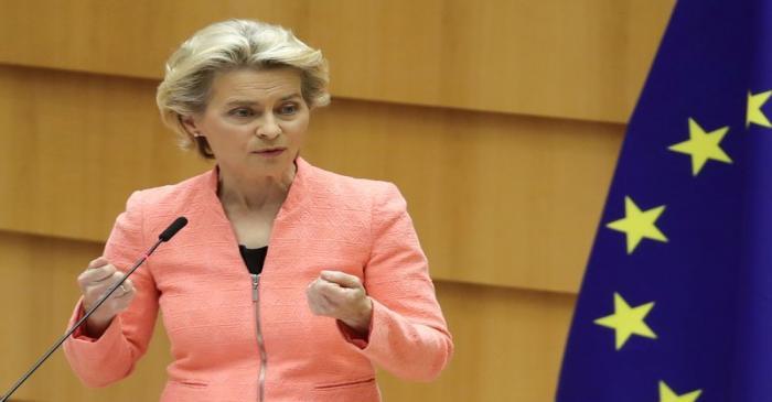 European Parliament president David-Maria Sassoli reacts as European Commission President