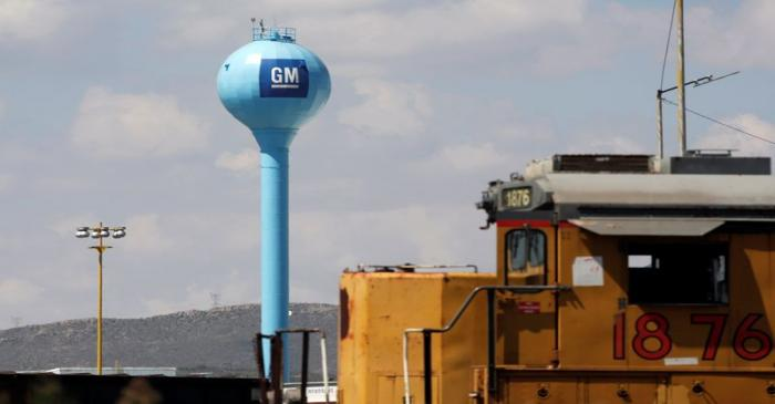 FILE PHOTO: The GM logo is pictured at the General Motors Assembly Plant in Ramos Arizpe