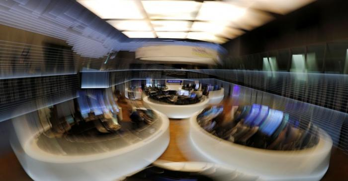 FILE PHOTO: The trading floor is seen at the end of a trading day at the German stock exchange