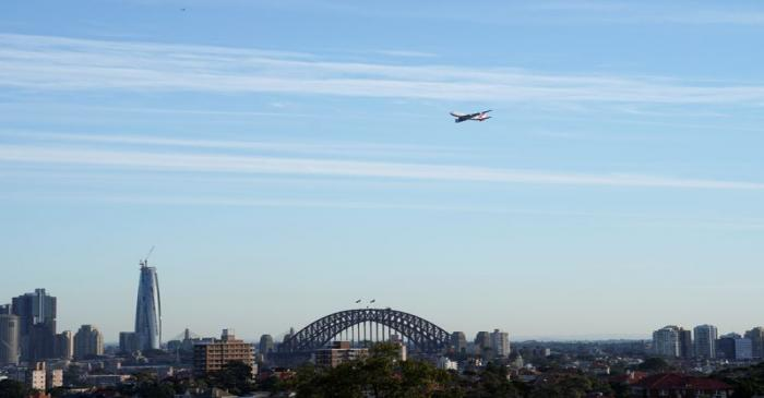 FILE PHOTO: A view shows a Qantas Boeing 747 jumbo jet that departed from Sydney Airport, in