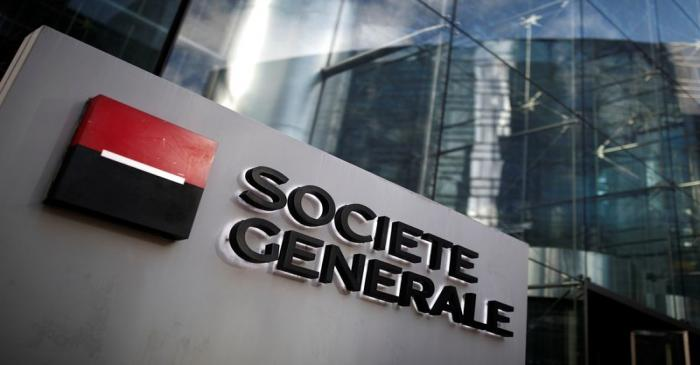 The logo of Societe Generale is seen on the headquarters at the financial and business district
