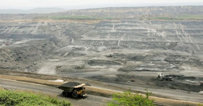 FILE PHOTO: A mining truck transports coal at a mine near Barrancas, Guajira province