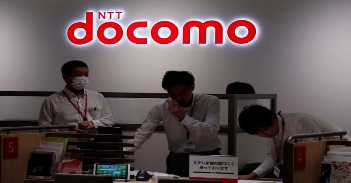 FILE PHOTO: Logo of NTT Docomo is seen at its flagship shop in Tokyo