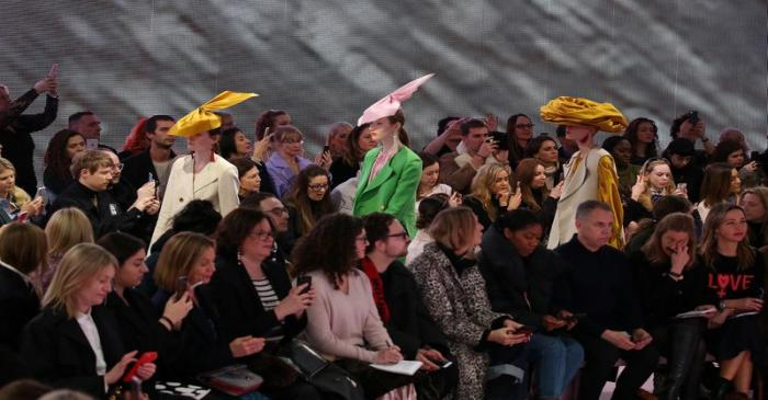 Models display creations during the Mulberry show at London Fashion Week