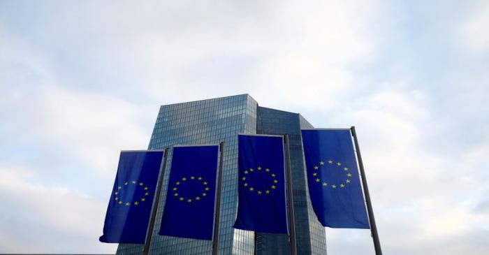 FILE PHOTO: EU flags fly in front of European Central Bank headquarters in Frankfurt