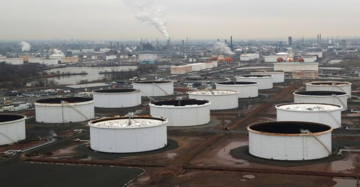 General view of oil tanks and the Bayway Refinery of Phillips 66 in Linden