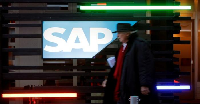 Logo of SAP is seen in Davos