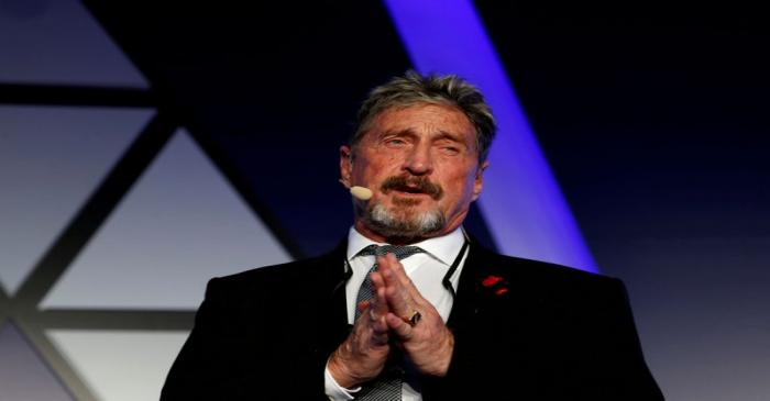 FILE PHOTO: John McAfee, co-founder of McAfee Crypto Team and CEO of Luxcore and founder of