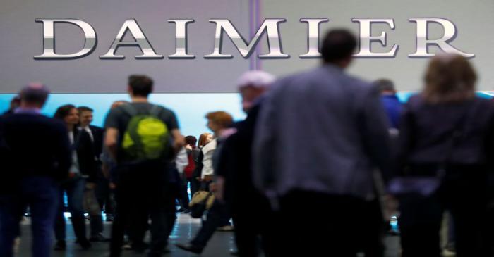 The Daimler logo is seen before the Daimler annual shareholder meeting in Berlin