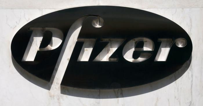 FILE PHOTO: A sign is pictured outside Pfizer Headquarters in the Manhattan borough of New York