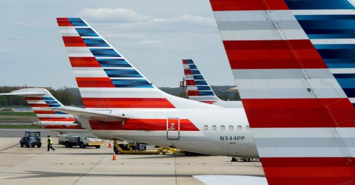 FILE PHOTO: American Airlines planes are parked at the gate during the coronavirus disease