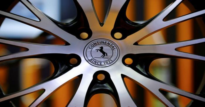 FILE PHOTO: The logo of Continental is pictured on a rim in Hanover