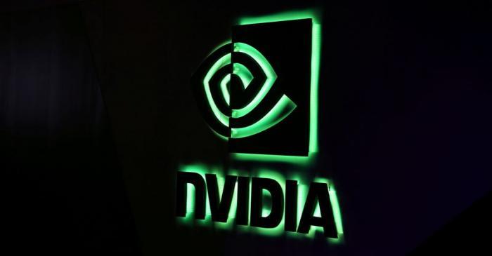 FILE PHOTO: NVIDIA logo shown at SIGGRAPH 2017