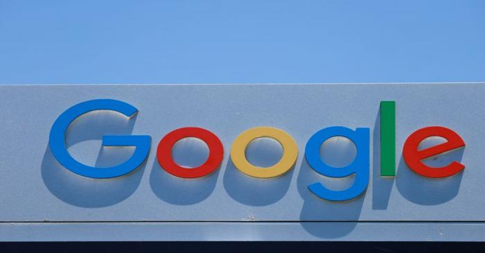 FILE PHOTO: A Google sign is shown at one of the company's office complexes in Irvine,