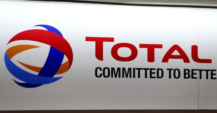 The logo of French oil and gas company Total is seen during a shareholders meeting in Paris