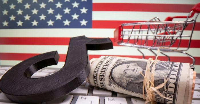 FILE PHOTO: A 3D printed Tik Tok logo, dollar banknotes, shopping cart and keyboard are seen in
